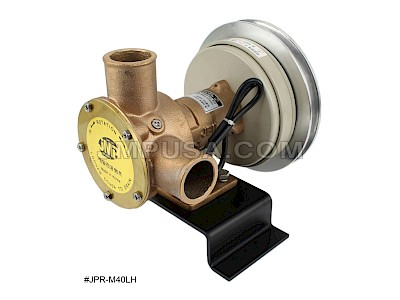 "#JPR-M40LH1B24 JMP Marine 24V Multi-Purpose Electro Magnetic Clutch Pump - 1.5"" Hose Ports, B Section Belt Pulley"