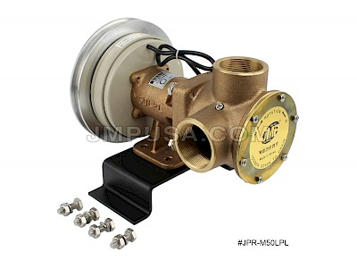 "#JPR-M50LPL1B24 JMP Marine 24V Multi-Purpose Electro Magnetic Clutch Pump - 2"" Pipe Ports, B Section Belt Pulley"